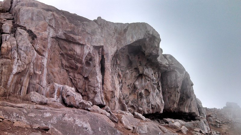 Rock Climbing Photo: The cave at Pared Intermedia, as the fog rolls in ...