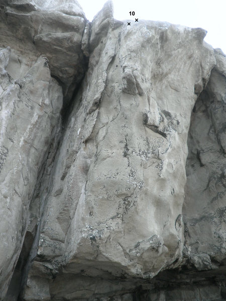 Tenth route from left to right. Toprope only, following the arete.