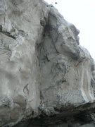 Rock Climbing Photo: Eleventh route from left to right. Top rope anchor...