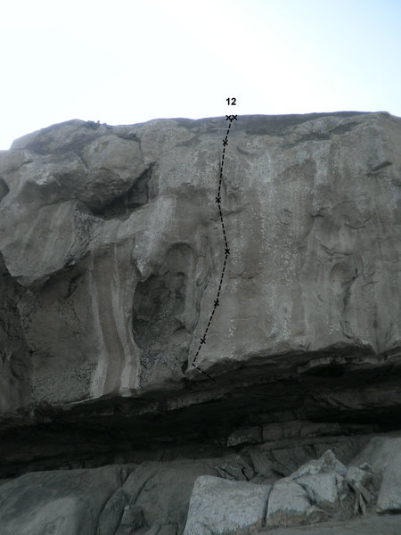 Rock Climbing Photo: Twelfth route from left to right. Start on good ro...