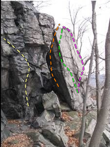 The right arete on the the tall rectangular block in the photo is John Browns Body (pink line). The green line is Isaac Smith Arete. The orange line is roughly the path of The Secret Six. The faint yellow line is roughly the path of Doctor Who.