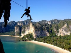 Rock Climbing Photo: Mike Holley lowering off Thai Stick!