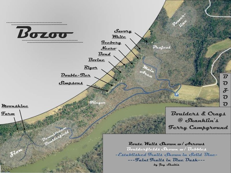 Bozoo Topo which shows the general locations of both the route and bouldering areas.