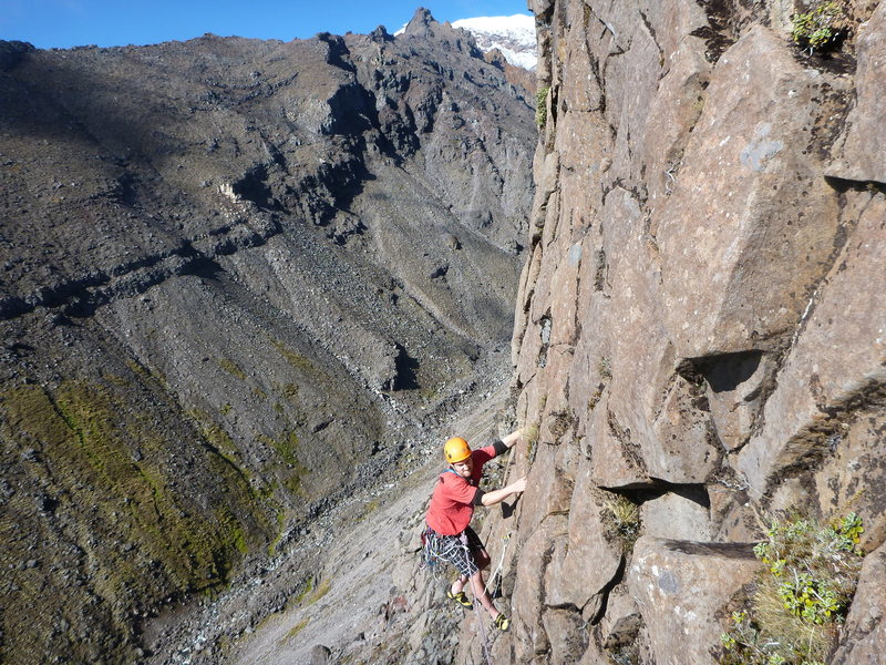 Rock Climbing Photo: Trad with mountains in the background
