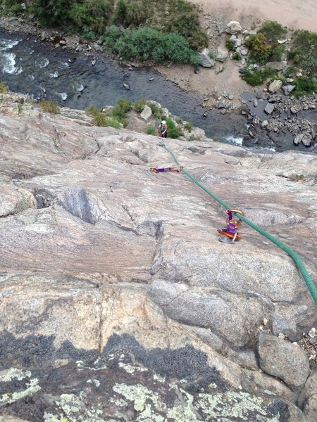 Rock Climbing Photo: Looking down from the hanging belay atop pitch 1, ...