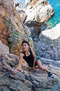Rock Climbing Photo: D. Kuo nears the finish ledge