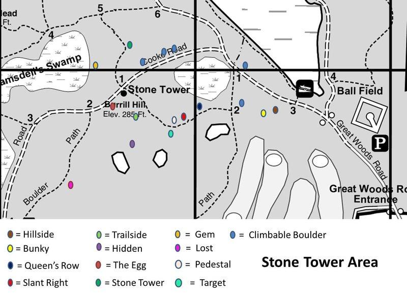 Boulder locations around Stone Tower.