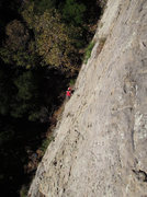 """Rock Climbing Photo: Mark Buntaine at the halfway point on """"The St..."""