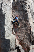 Rock Climbing Photo: Charlie Beard heading up Marie 4 poches