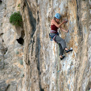Rock Climbing Photo: Tricky undercling crossover on the route. April 20...