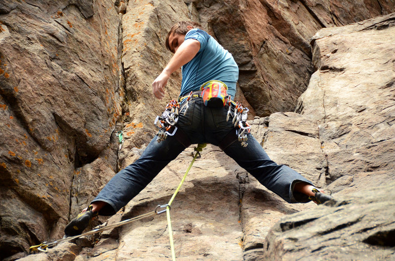 Rock Climbing Photo: Mandatory butt shot. Tim Gibson taking a rest.