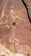 Rock Climbing Photo: Leading Blue Sun 5.10, Indian Creek, UT