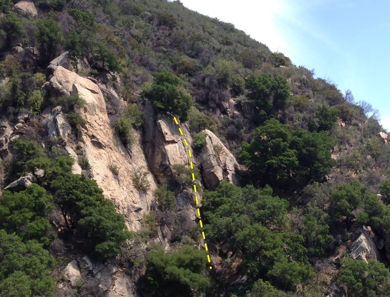Rock Climbing Photo: The route follows the crack below the oak tree in ...