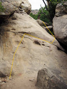 Rock Climbing Photo: The 3rd class wall at the end of the path.