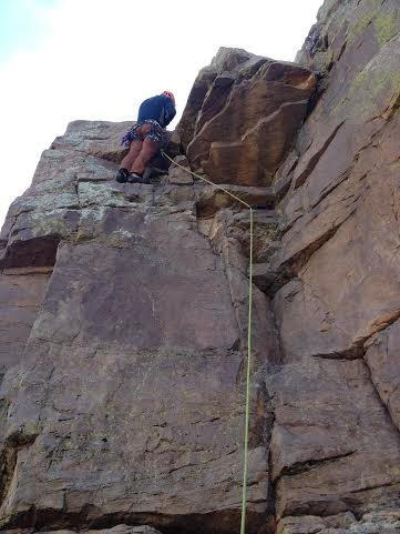 Rock Climbing Photo: Ernesto Sagas leading his route on his 50th birthd...