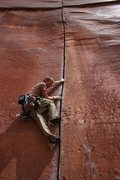 Rock Climbing Photo: Ken Thompson leading Coyne Crack. Photo by Ryan Wi...