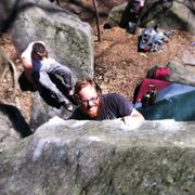 Rock Climbing Photo: Tim Armstrong bearing down on the slopers