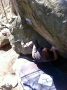 Rock Climbing Photo: The first move, which is also the crux