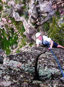 Rock Climbing Photo: Eddie cruising the last couple of feet. Note the l...