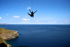 Rock Climbing Photo: Happily swinging after cleaning a route at the Sec...