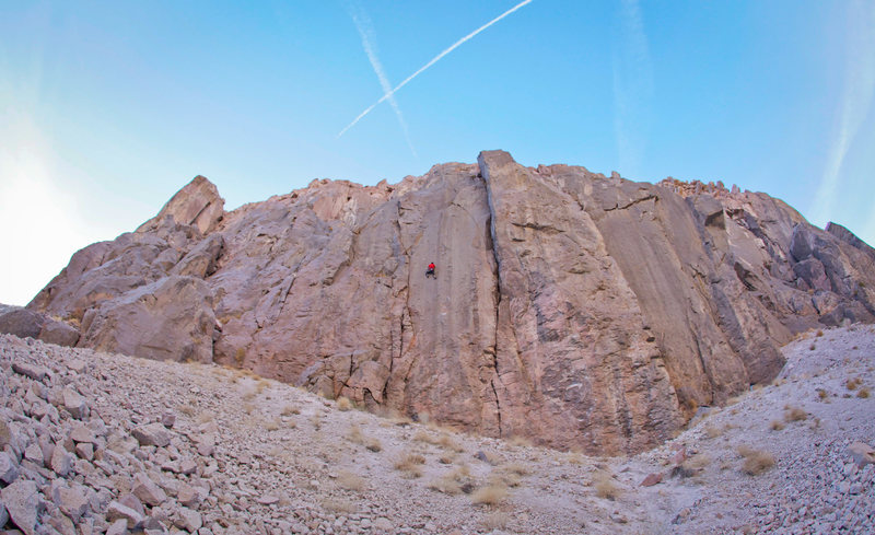 Mothership Cliff, Owens River Gorge, the eastside.  Matt is on Excelsior.  Holey Wars on the next blank face to the right.