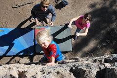 Rock Climbing Photo: Cora climbing in her Halloween costume.
