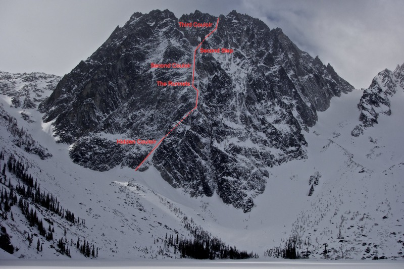 Rock Climbing Photo: Dragontail Peak from the far end of Colchuck Lake....