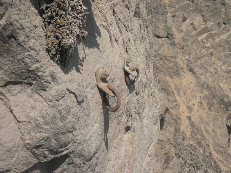 Rock Climbing Photo: The anchors atop Habemus taladrum