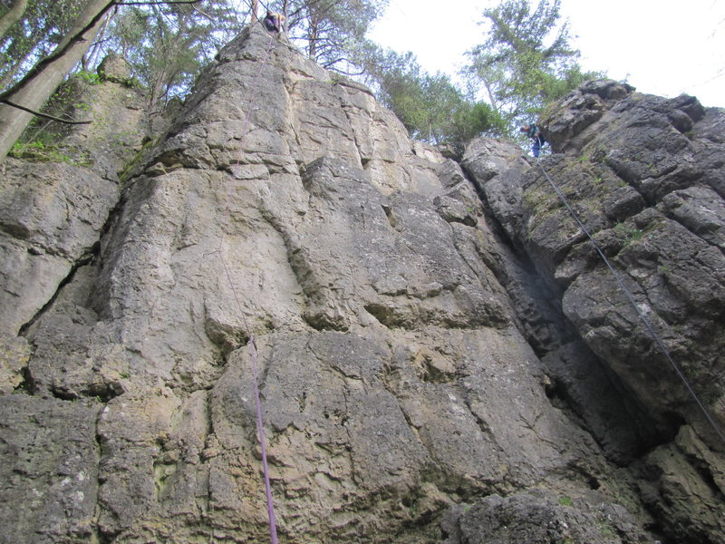 Fanny at the top of Pfeiler. The furthest route to the left here climbs the left side of the arete.