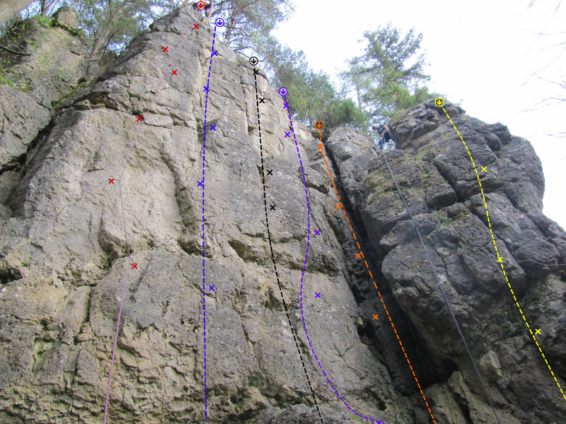 Rock Climbing Photo: The routes on the West wall from left to right: We...