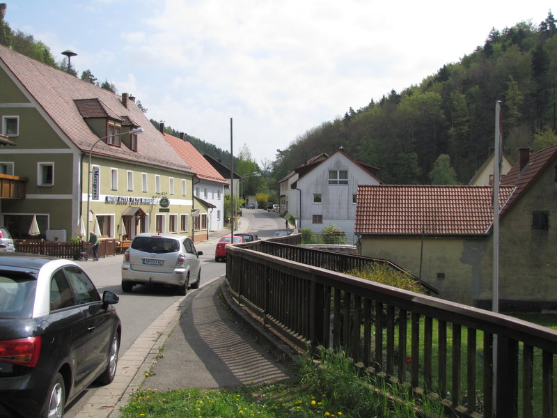 """Here's the restaurant """"Alter Fritz"""" and across from it is the road and small foot bridge over the creek which lead to the two shady crags."""