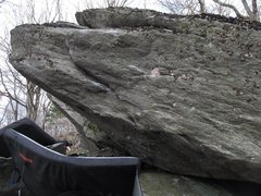Rock Climbing Photo: Calamity sit starts at the base of the overhang an...