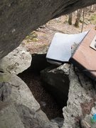 Rock Climbing Photo: The problem climbs over top of this massive pit fo...