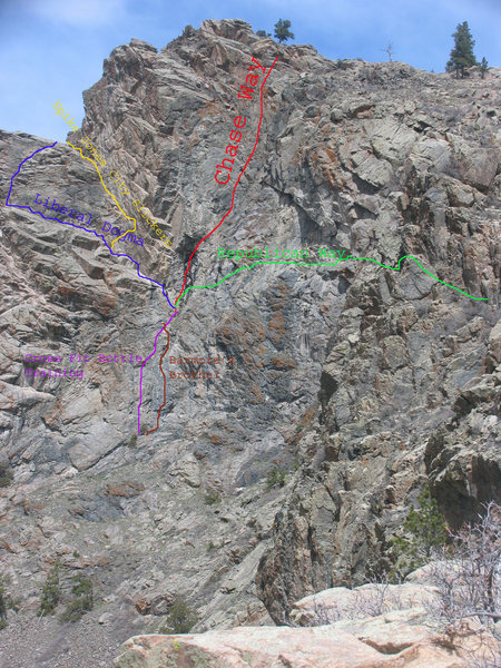 Barmore's Brothel is another fine line on the basal amphibolite of the Krumbling Towers Walls.