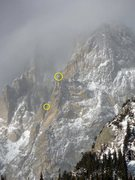 Rock Climbing Photo: The lower circle shows where most people finish th...