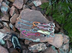Rock Climbing Photo: The pro for the climb, all placed within the first...