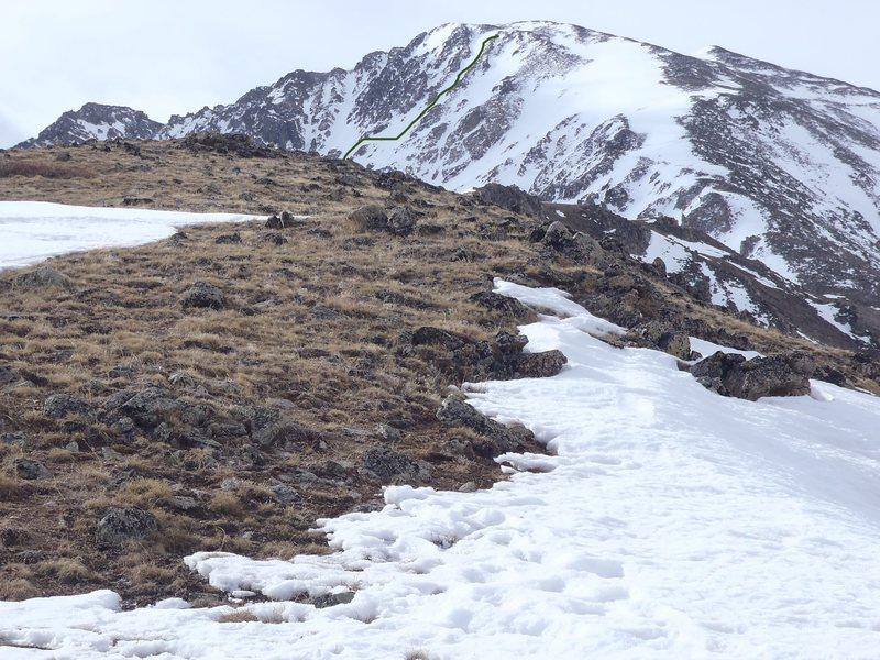Rock Climbing Photo: Green line shows ski descent