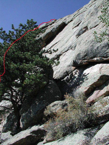 Sorry no actual photo for this climb, but the route is located about 60 feet left of this dihederal and begins with a short crack.