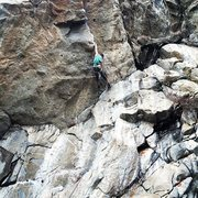 Rock Climbing Photo: Making the reachy move to get established on the r...