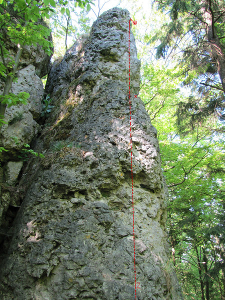 Zirbengeist. Another view of the top of the route to the anchor is found on Absinth.