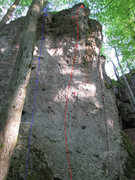 Rock Climbing Photo: Diesel mit Schuß is the red route in the middle.