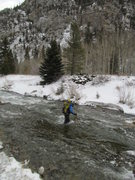 Rock Climbing Photo: River crossing with the climb in the background.