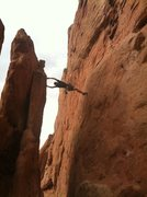 Rock Climbing Photo: Between two fins near Credibility Gap
