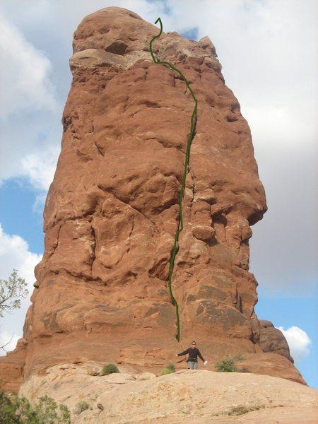 Rock Climbing Photo: Green line shows line