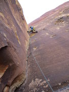 Rock Climbing Photo: Leading up the fun corner that gives you a rest es...