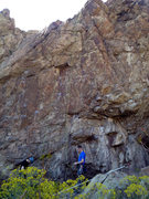 Rock Climbing Photo: The route follows the left-hand rope line.