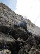 Rock Climbing Photo: Mark studying the crimpy holds before launching on...