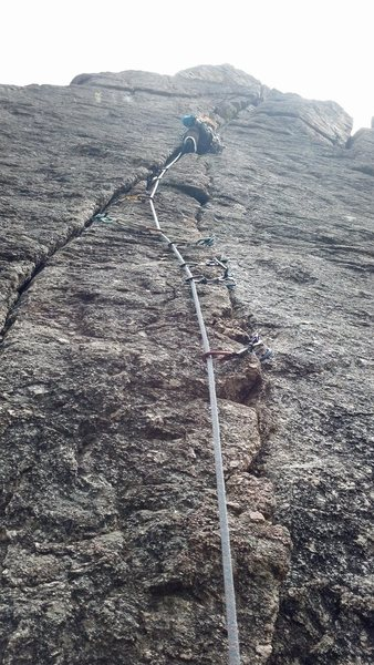 Good climb. Don't recommend for new leader onsight (interpret as scary). I took a whipper. Note the closely spaced gear....