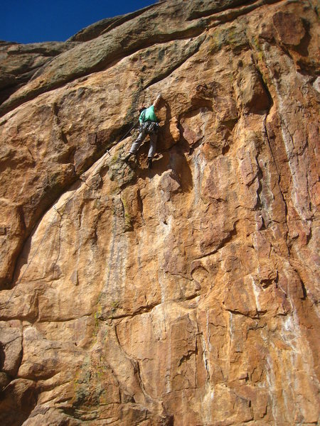 Starting the crux moves.