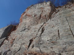 Rock Climbing Photo: Route D climbs the right side of the tall section ...